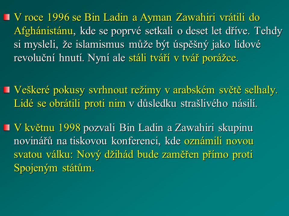V roce 1996 se Bin Ladin a Ayman Zawahiri vrátili do Afghánistánu, kde se poprvé setkali o deset let dříve. Tehdy si mysleli, že islamismus může být ú