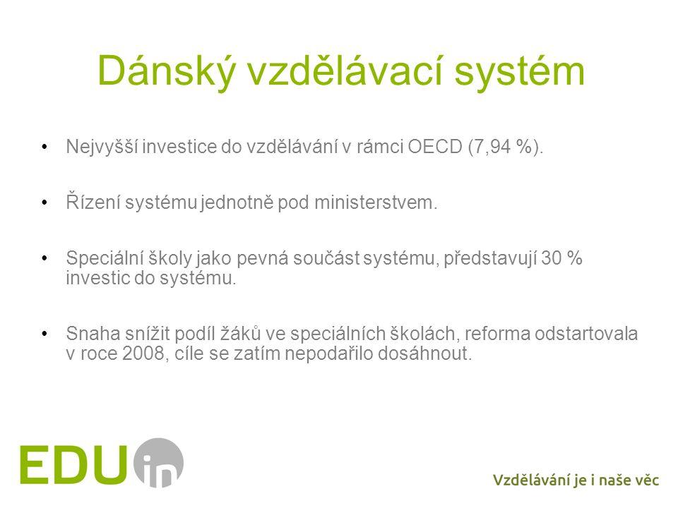 Dánský vzdělávací systém Nejvyšší investice do vzdělávání v rámci OECD (7,94 %). Řízení systému jednotně pod ministerstvem. Speciální školy jako pevná