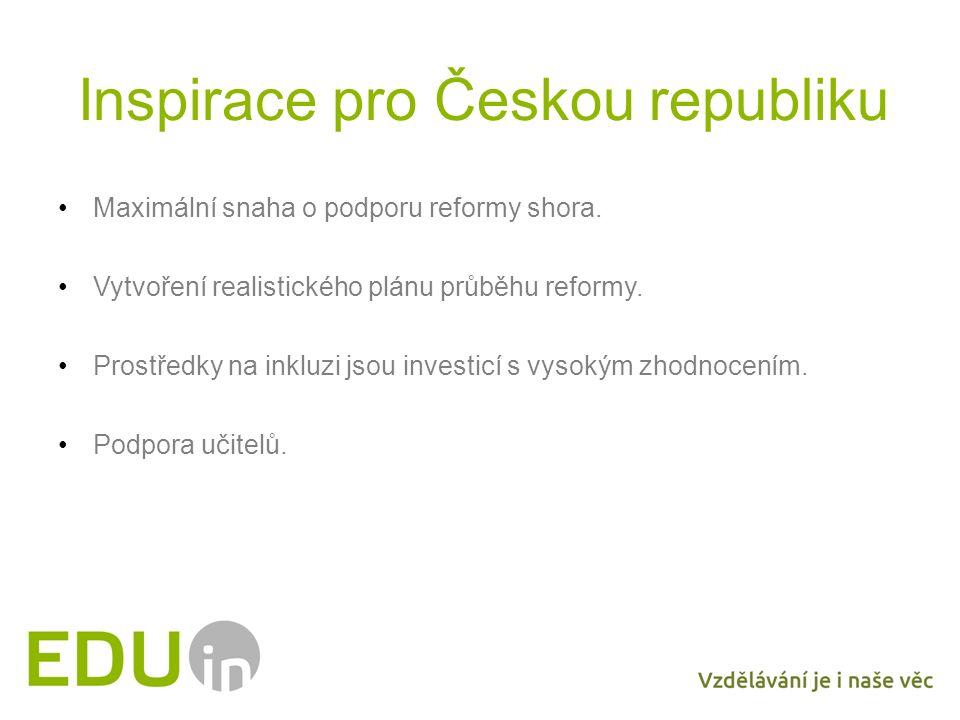 Inspirace pro Českou republiku Maximální snaha o podporu reformy shora. Vytvoření realistického plánu průběhu reformy. Prostředky na inkluzi jsou inve