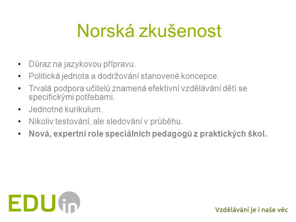 Norská zkušenost Důraz na jazykovou přípravu. Politická jednota a dodržování stanovené koncepce. Trvalá podpora učitelů znamená efektivní vzdělávání d