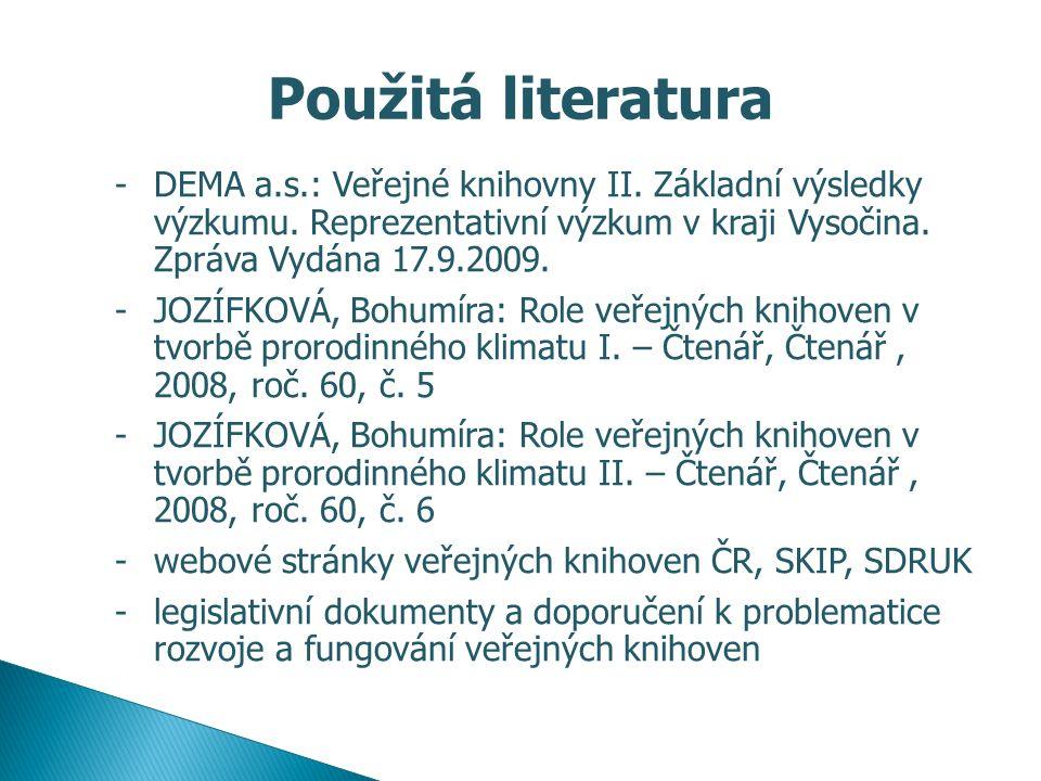 Použitá literatura -DEMA a.s.: Veřejné knihovny II. Základní výsledky výzkumu. Reprezentativní výzkum v kraji Vysočina. Zpráva Vydána 17.9.2009. -JOZÍ