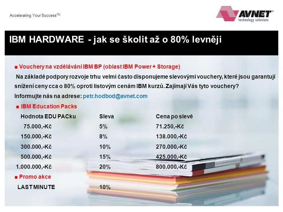 Accelerating Your Success TM IBM HARDWARE - jak se školit až o 80% levněji ■ Vouchery na vzdělávání IBM BP (oblast IBM Power + Storage) Na základě pod