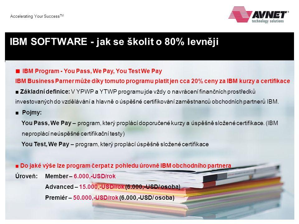 Accelerating Your Success TM IBM SOFTWARE - jak se školit o 80% levněji ■ IBM Program - You Pass, We Pay, You Test We Pay IBM Business Parner může dík