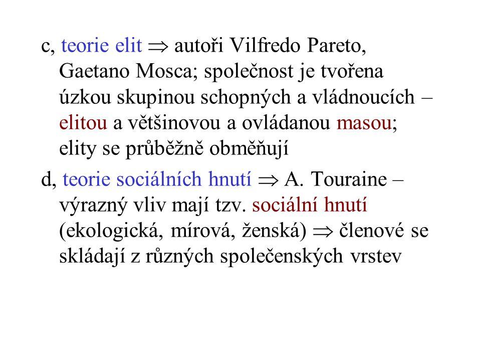 c, teorie elit  autoři Vilfredo Pareto, Gaetano Mosca; společnost je tvořena úzkou skupinou schopných a vládnoucích – elitou a většinovou a ovládanou masou; elity se průběžně obměňují d, teorie sociálních hnutí  A.