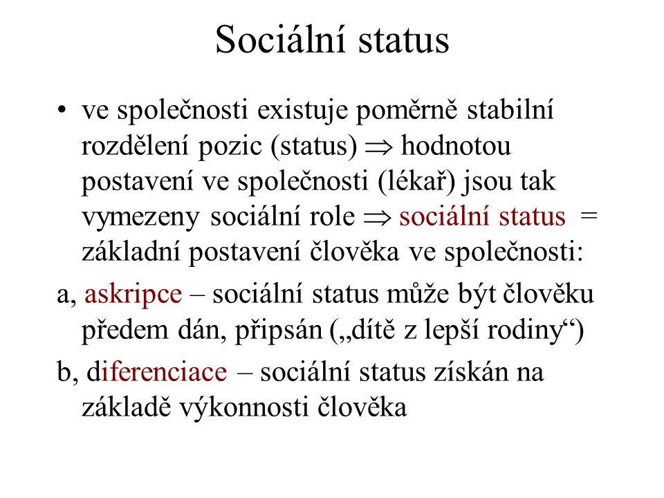 """Sociální status ve společnosti existuje poměrně stabilní rozdělení pozic (status)  hodnotou postavení ve společnosti (lékař) jsou tak vymezeny sociální role  sociální status = základní postavení člověka ve společnosti: a, askripce – sociální status může být člověku předem dán, připsán (""""dítě z lepší rodiny ) b, diferenciace – sociální status získán na základě výkonnosti člověka"""
