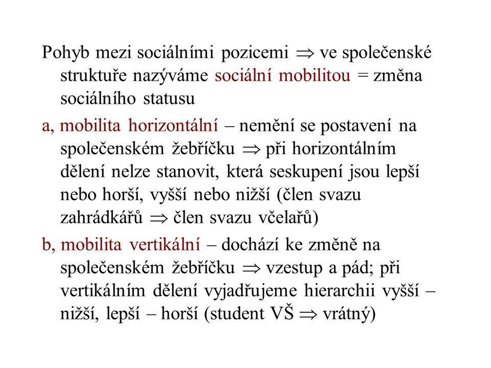 Podle rozsahu pohybu rozlišujeme společnost na: a, mobilitně otevřenou – společnost evropského typu b, mobilitně uzavřenou – stavy ve feudální společnosti, kasty, svobodní zednáři Příčiny mobility: a, objektivní – jedinec nemůže ovlivnit (změna politického režimu, ekonomického systému) b, subjektivní – změna vychází z jedince, obvykle se týká pouze konkrétního člověka (rezignace na kariéru, alternativní životní styl) Jiné druhy mobility  prostorová (migrace – emigrace, imigrace), profesní ekonomická aktivita)