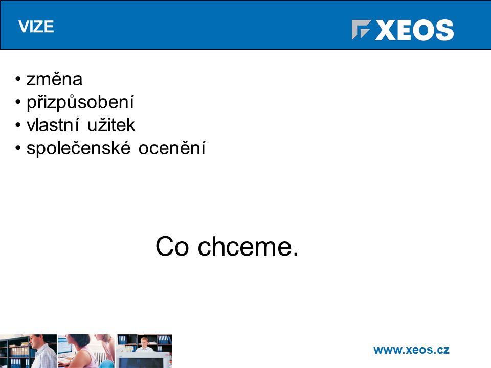 www.xeos.cz VIZE změna přizpůsobení vlastní užitek společenské ocenění Co chceme.
