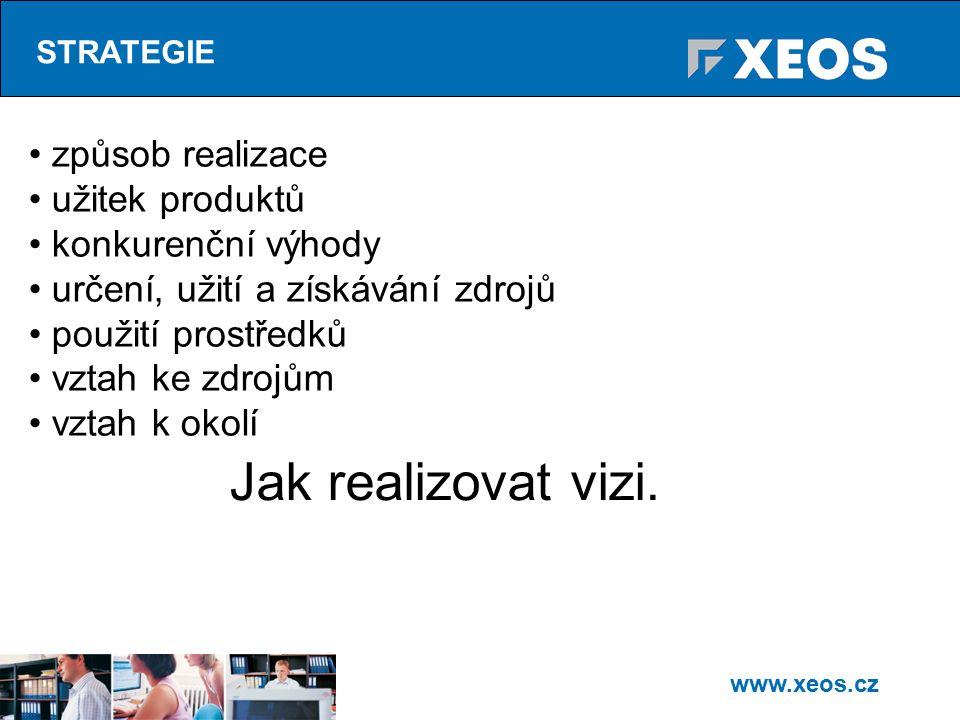 www.xeos.cz STRATEGIE způsob realizace užitek produktů konkurenční výhody určení, užití a získávání zdrojů použití prostředků vztah ke zdrojům vztah k okolí Jak realizovat vizi.