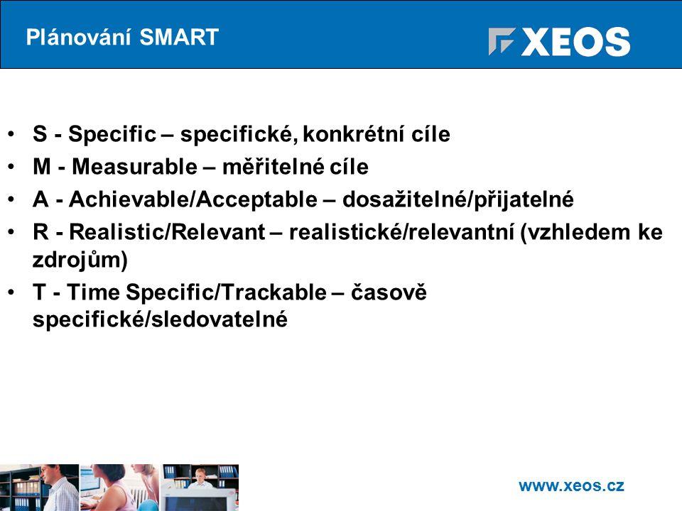 www.xeos.cz S - Specific – specifické, konkrétní cíle M - Measurable – měřitelné cíle A - Achievable/Acceptable – dosažitelné/přijatelné R - Realistic/Relevant – realistické/relevantní (vzhledem ke zdrojům) T - Time Specific/Trackable – časově specifické/sledovatelné Plánování SMART