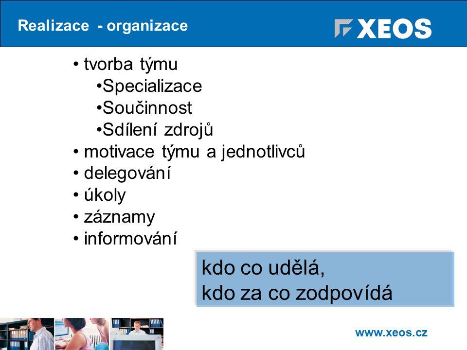 www.xeos.cz Realizace - organizace tvorba týmu Specializace Součinnost Sdílení zdrojů motivace týmu a jednotlivců delegování úkoly záznamy informování kdo co udělá, kdo za co zodpovídá
