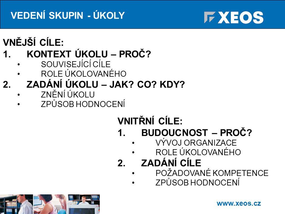 www.xeos.cz VEDENÍ SKUPIN - ÚKOLY VNĚJŠÍ CÍLE: 1.KONTEXT ÚKOLU – PROČ.