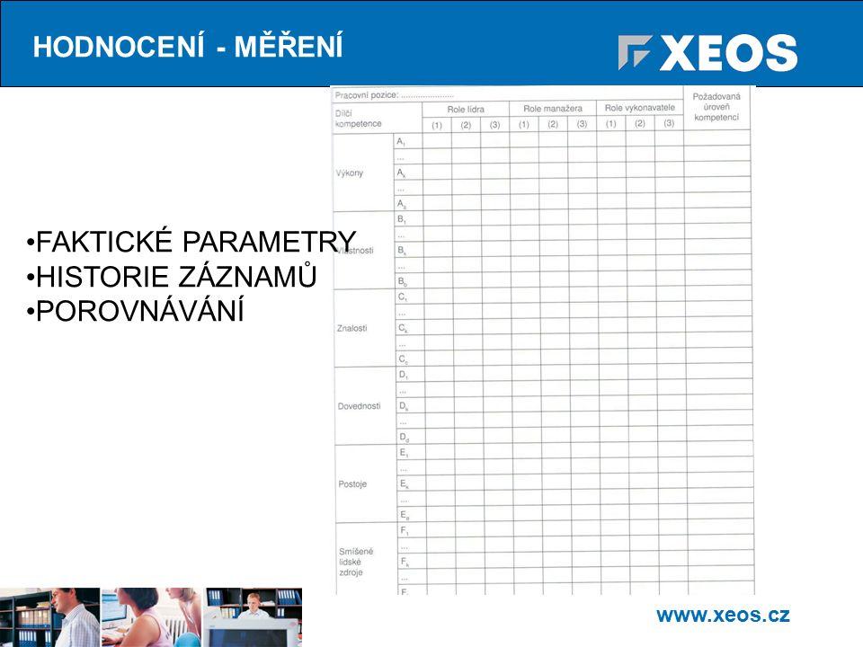 www.xeos.cz HODNOCENÍ - MĚŘENÍ FAKTICKÉ PARAMETRY HISTORIE ZÁZNAMŮ POROVNÁVÁNÍ