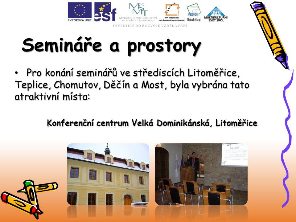 Semináře a prostory Pro konání seminářů ve střediscích Litoměřice, Teplice, Chomutov, Děčín a Most, byla vybrána tato atraktivní místa: Pro konání sem