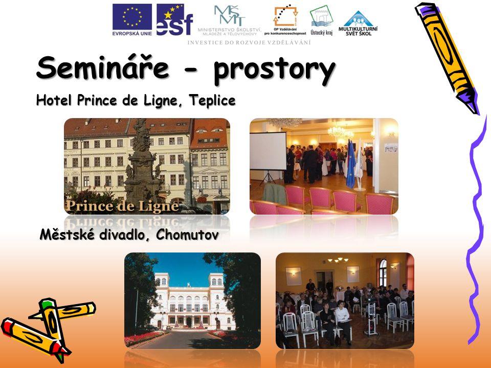 Semináře - prostory Městské divadlo, Chomutov Hotel Prince de Ligne, Teplice