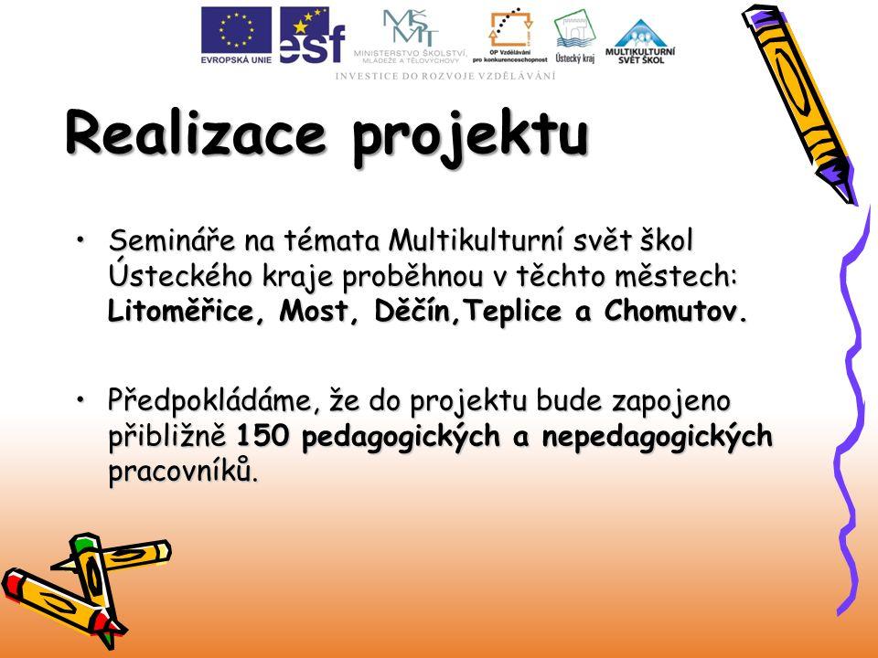 Realizace projektu Semináře na témata Multikulturní svět škol Ústeckého kraje proběhnou v těchto městech: Litoměřice, Most, Děčín,Teplice a Chomutov.S