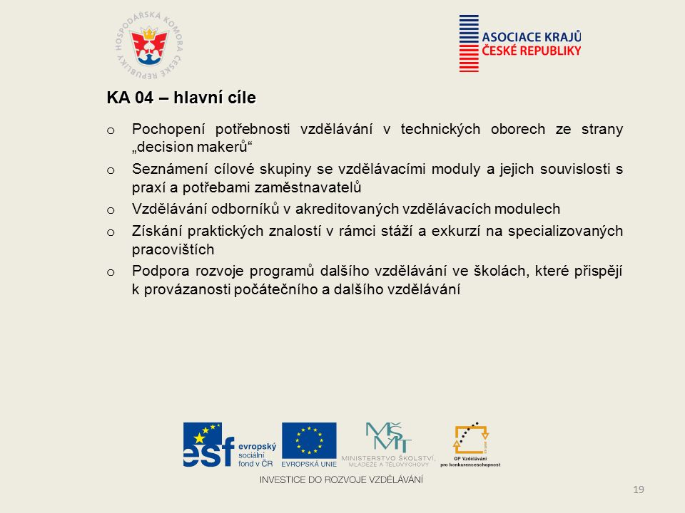 """KA 04 – hlavní cíle o Pochopení potřebnosti vzdělávání v technických oborech ze strany """"decision makerů o Seznámení cílové skupiny se vzdělávacími moduly a jejich souvislosti s praxí a potřebami zaměstnavatelů o Vzdělávání odborníků v akreditovaných vzdělávacích modulech o Získání praktických znalostí v rámci stáží a exkurzí na specializovaných pracovištích o Podpora rozvoje programů dalšího vzdělávání ve školách, které přispějí k provázanosti počátečního a dalšího vzdělávání 19"""