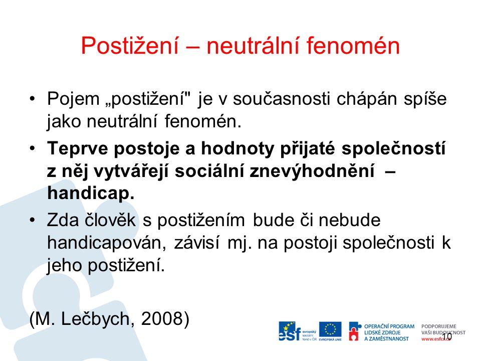 """Postižení – neutrální fenomén Pojem """"postižení je v současnosti chápán spíše jako neutrální fenomén."""