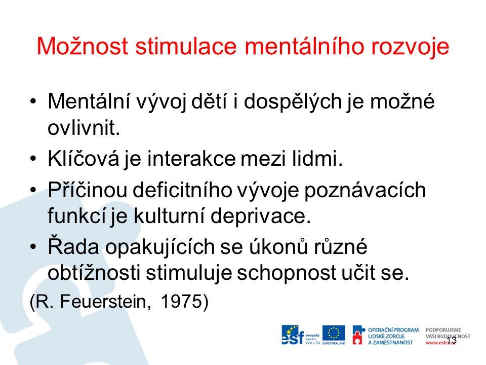 Možnost stimulace mentálního rozvoje Mentální vývoj dětí i dospělých je možné ovlivnit.