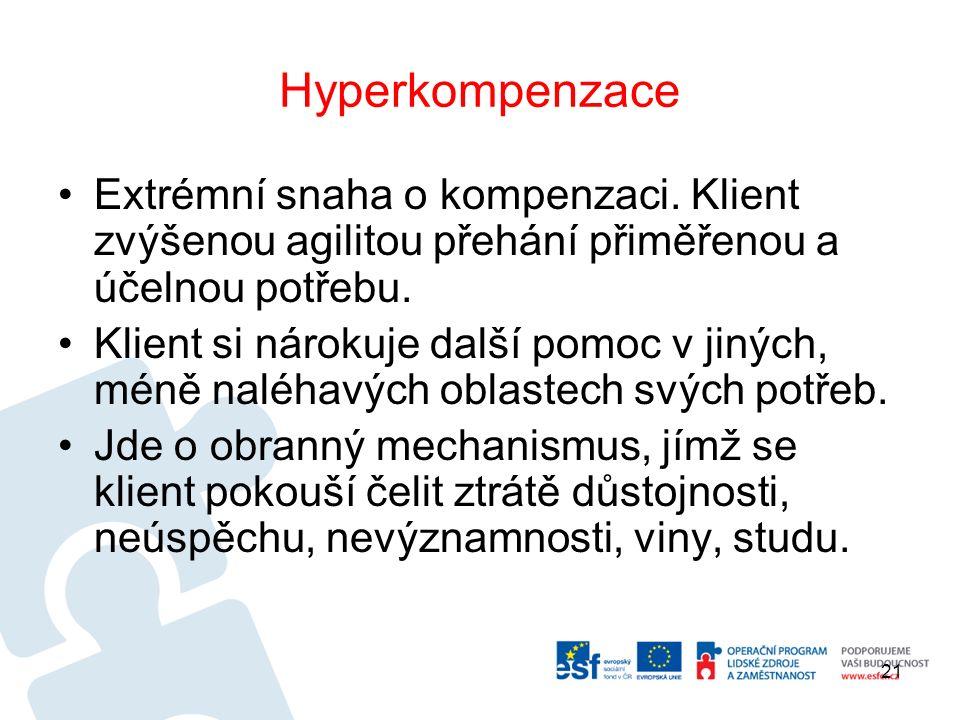 Hyperkompenzace Extrémní snaha o kompenzaci.