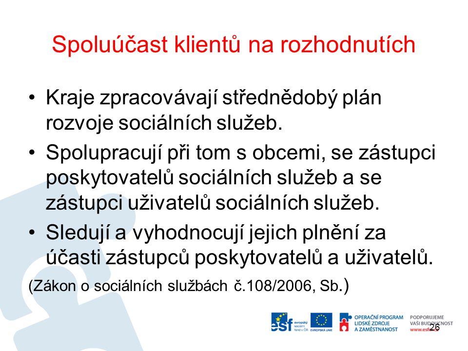 Spoluúčast klientů na rozhodnutích Kraje zpracovávají střednědobý plán rozvoje sociálních služeb.
