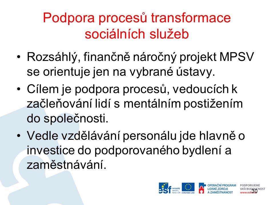 Podpora procesů transformace sociálních služeb Rozsáhlý, finančně náročný projekt MPSV se orientuje jen na vybrané ústavy.