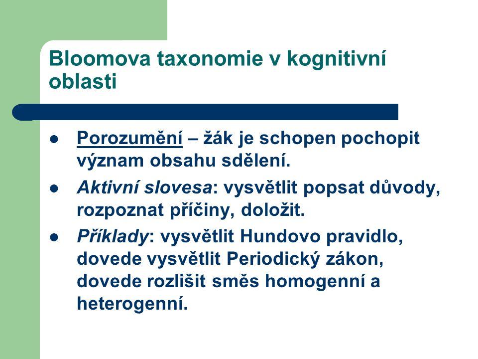 Bloomova taxonomie v kognitivní oblasti Porozumění – žák je schopen pochopit význam obsahu sdělení.