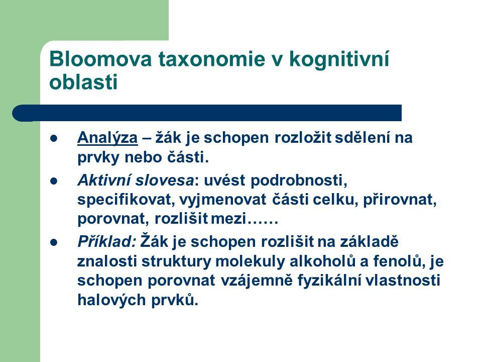 Bloomova taxonomie v kognitivní oblasti Analýza – žák je schopen rozložit sdělení na prvky nebo části.