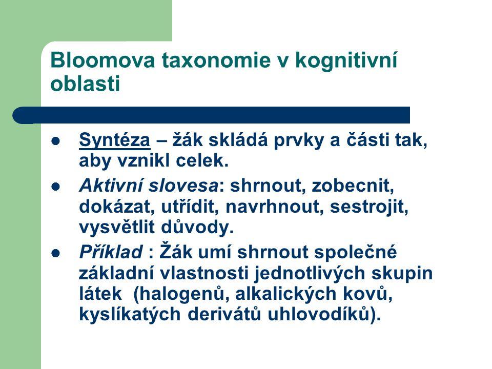 Bloomova taxonomie v kognitivní oblasti Syntéza – žák skládá prvky a části tak, aby vznikl celek.