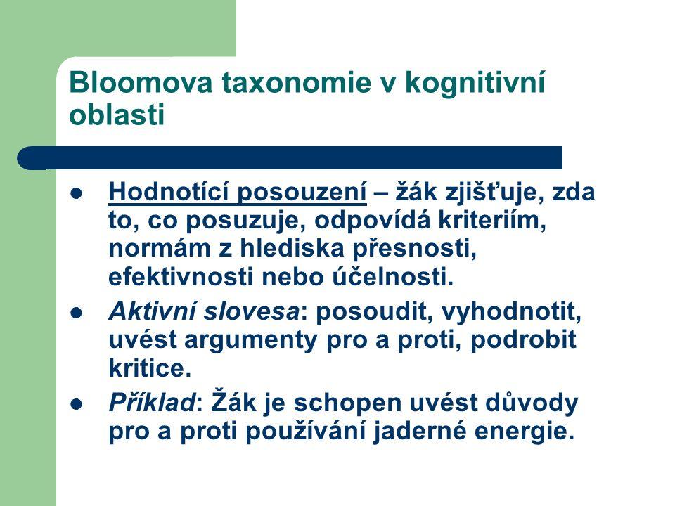 Bloomova taxonomie v kognitivní oblasti Hodnotící posouzení – žák zjišťuje, zda to, co posuzuje, odpovídá kriteriím, normám z hlediska přesnosti, efektivnosti nebo účelnosti.