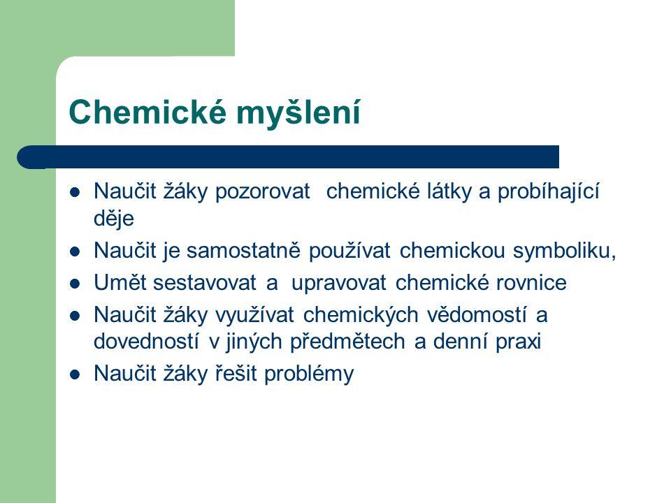 Chemické myšlení Naučit žáky pozorovat chemické látky a probíhající děje Naučit je samostatně používat chemickou symboliku, Umět sestavovat a upravovat chemické rovnice Naučit žáky využívat chemických vědomostí a dovedností v jiných předmětech a denní praxi Naučit žáky řešit problémy