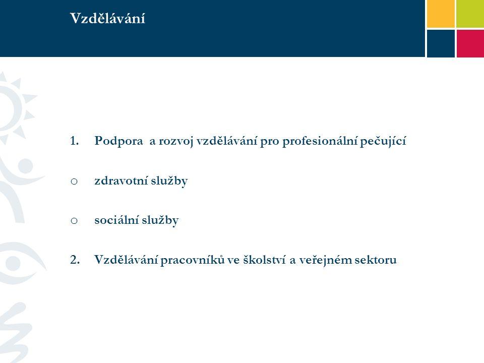 Vzdělávání 1.Podpora a rozvoj vzdělávání pro profesionální pečující o zdravotní služby o sociální služby 2.Vzdělávání pracovníků ve školství a veřejném sektoru