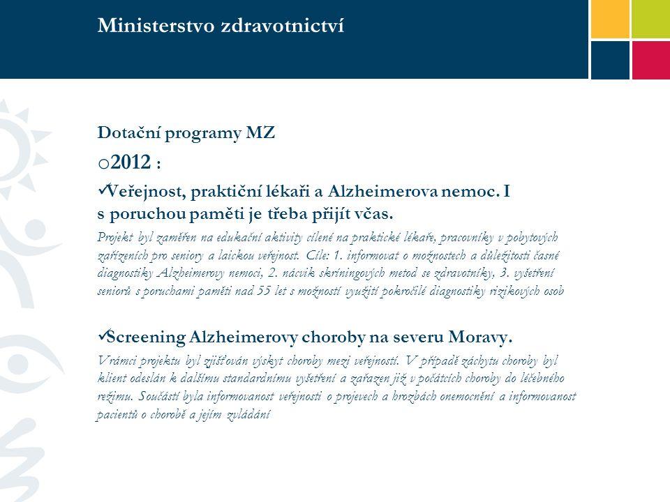Ministerstvo zdravotnictví Dotační programy MZ o 2012 : Veřejnost, praktiční lékaři a Alzheimerova nemoc.