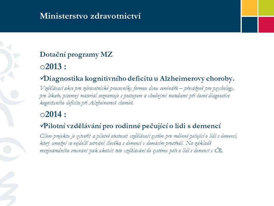 Ministerstvo zdravotnictví Dotační programy MZ o 2013 : Diagnostika kognitivního deficitu u Alzheimerovy choroby.