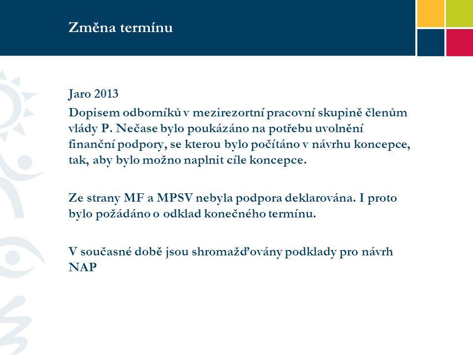 Změna termínu Jaro 2013 Dopisem odborníků v mezirezortní pracovní skupině členům vlády P.