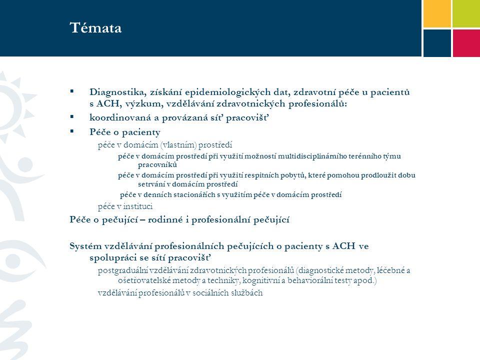 Témata  Diagnostika, získání epidemiologických dat, zdravotní péče u pacientů s ACH, výzkum, vzdělávání zdravotnických profesionálů:  koordinovaná a provázaná síť pracovišť  Péče o pacienty péče v domácím (vlastním) prostředí péče v domácím prostředí při využití možností multidisciplinárního terénního týmu pracovníků péče v domácím prostředí při využití respitních pobytů, které pomohou prodloužit dobu setrvání v domácím prostředí péče v denních stacionářích s využitím péče v domácím prostředí péče v instituci Péče o pečující – rodinné i profesionální pečující Systém vzdělávání profesionálních pečujících o pacienty s ACH ve spolupráci se sítí pracovišť postgraduální vzdělávání zdravotnických profesionálů (diagnostické metody, léčebné a ošetřovatelské metody a techniky, kognitivní a behaviorální testy apod.) vzdělávání profesionálů v sociálních službách