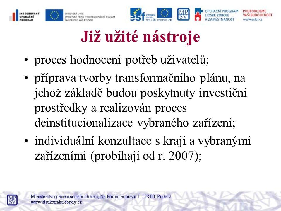 Již užité nástroje proces hodnocení potřeb uživatelů; příprava tvorby transformačního plánu, na jehož základě budou poskytnuty investiční prostředky a