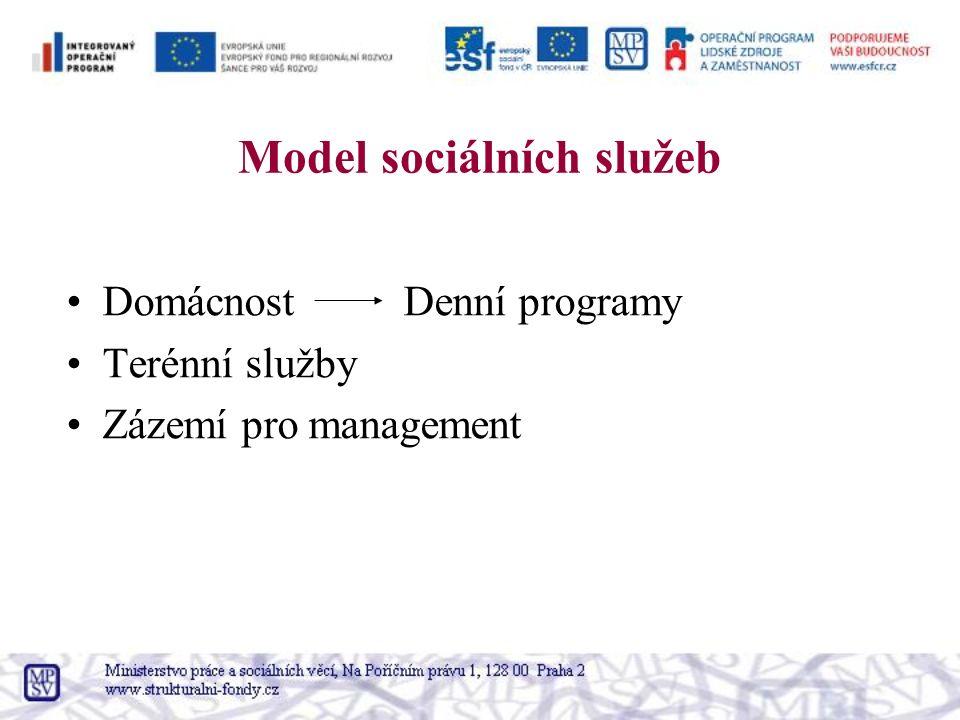 Model sociálních služeb Domácnost Denní programy Terénní služby Zázemí pro management