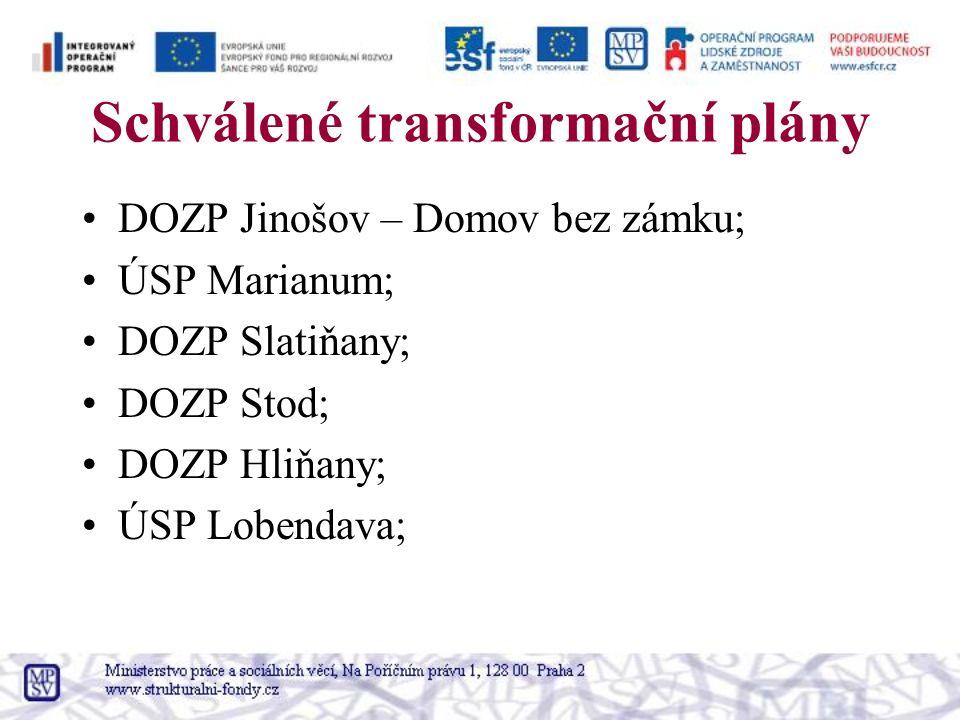 Schválené transformační plány DOZP Jinošov – Domov bez zámku; ÚSP Marianum; DOZP Slatiňany; DOZP Stod; DOZP Hliňany; ÚSP Lobendava;