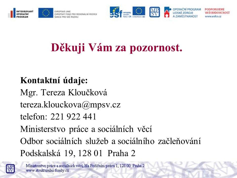 Děkuji Vám za pozornost. Kontaktní údaje: Mgr. Tereza Kloučková tereza.klouckova@mpsv.cz telefon: 221 922 441 Ministerstvo práce a sociálních věcí Odb