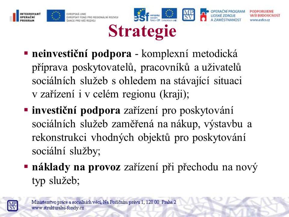 Strategie  neinvestiční podpora - komplexní metodická příprava poskytovatelů, pracovníků a uživatelů sociálních služeb s ohledem na stávající situaci