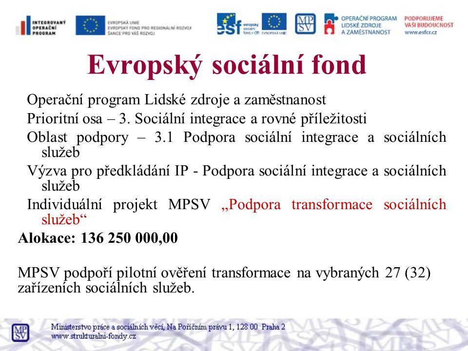 Evropský sociální fond Operační program Lidské zdroje a zaměstnanost Prioritní osa – 3. Sociální integrace a rovné příležitosti Oblast podpory – 3.1 P