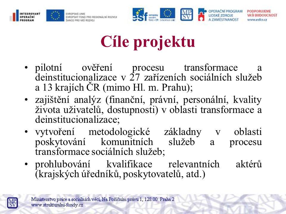 Cíle projektu pilotní ověření procesu transformace a deinstitucionalizace v 27 zařízeních sociálních služeb a 13 krajích ČR (mimo Hl. m. Prahu); zajiš