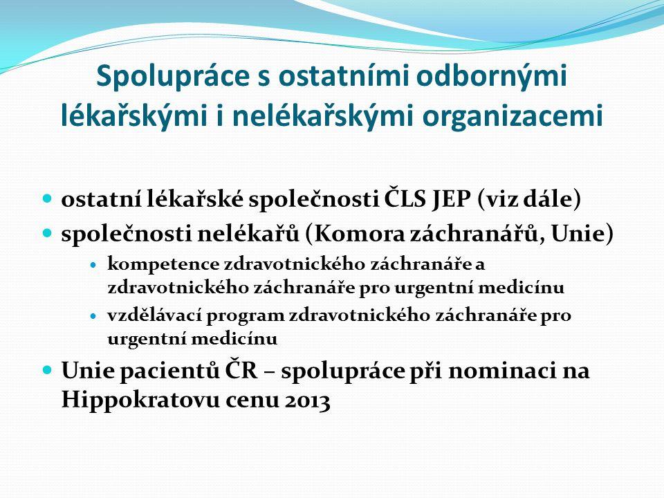 Spolupráce s ostatními odbornými lékařskými i nelékařskými organizacemi ostatní lékařské společnosti ČLS JEP (viz dále) společnosti nelékařů (Komora z