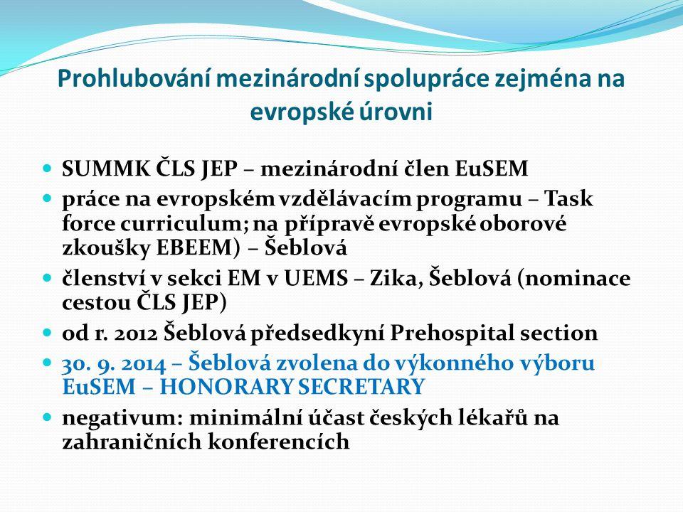 Prohlubování mezinárodní spolupráce zejména na evropské úrovni SUMMK ČLS JEP – mezinárodní člen EuSEM práce na evropském vzdělávacím programu – Task force curriculum; na přípravě evropské oborové zkoušky EBEEM) – Šeblová členství v sekci EM v UEMS – Zika, Šeblová (nominace cestou ČLS JEP) od r.