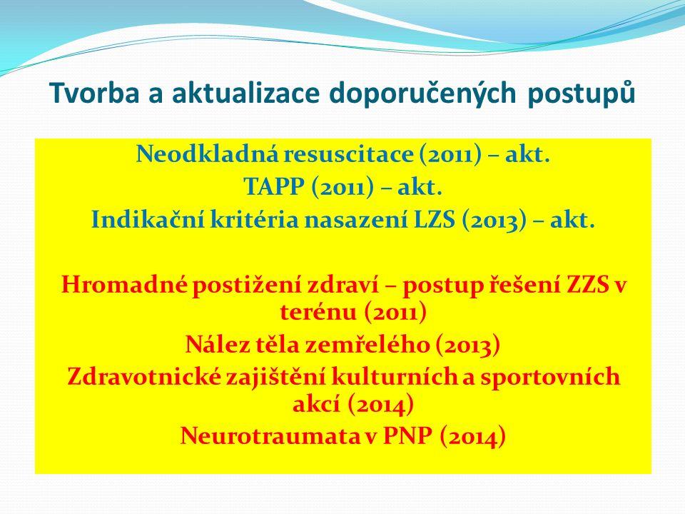 Tvorba a aktualizace doporučených postupů Neodkladná resuscitace (2011) – akt. TAPP (2011) – akt. Indikační kritéria nasazení LZS (2013) – akt. Hromad