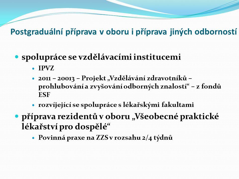 """Postgraduální příprava v oboru i příprava jiných odborností spolupráce se vzdělávacími institucemi IPVZ 2011 – 20013 – Projekt """"Vzdělávání zdravotníků – prohlubování a zvyšování odborných znalostí – z fondů ESF rozvíjející se spolupráce s lékařskými fakultami příprava rezidentů v oboru """"Všeobecné praktické lékařství pro dospělé Povinná praxe na ZZS v rozsahu 2/4 týdnů"""