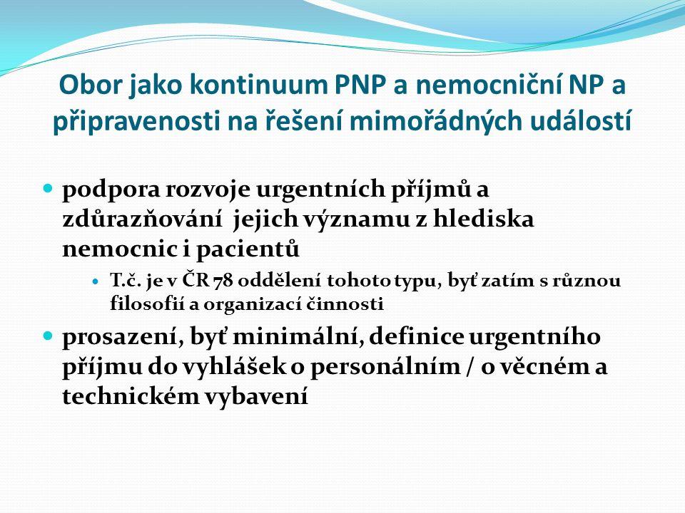 Obor jako kontinuum PNP a nemocniční NP a připravenosti na řešení mimořádných událostí podpora rozvoje urgentních příjmů a zdůrazňování jejich významu z hlediska nemocnic i pacientů T.č.