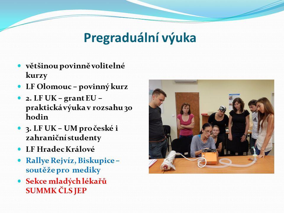 Pregraduální výuka většinou povinně volitelné kurzy LF Olomouc – povinný kurz 2. LF UK – grant EU – praktická výuka v rozsahu 30 hodin 3. LF UK – UM p
