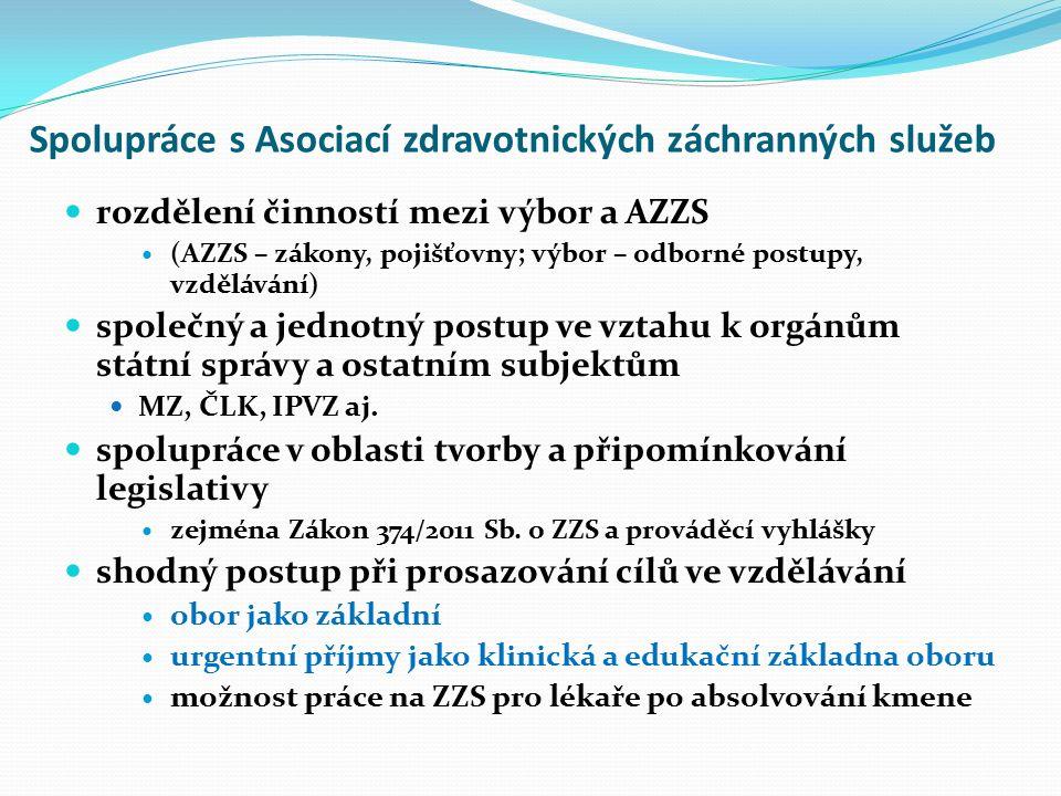 Spolupráce s Asociací zdravotnických záchranných služeb rozdělení činností mezi výbor a AZZS (AZZS – zákony, pojišťovny; výbor – odborné postupy, vzdělávání) společný a jednotný postup ve vztahu k orgánům státní správy a ostatním subjektům MZ, ČLK, IPVZ aj.