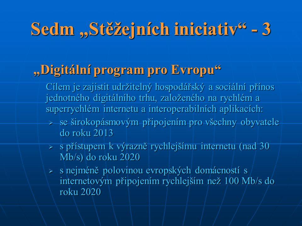 """Sedm """"Stěžejních iniciativ - 3 """"Digitální program pro Evropu Cílem je zajistit udržitelný hospodářský a sociální přínos jednotného digitálního trhu, založeného na rychlém a superrychlém internetu a interoperabilních aplikacích:  se širokopásmovým připojením pro všechny obyvatele do roku 2013  s přístupem k výrazně rychlejšímu internetu (nad 30 Mb/s) do roku 2020  s nejméně polovinou evropských domácností s internetovým připojením rychlejším než 100 Mb/s do roku 2020"""